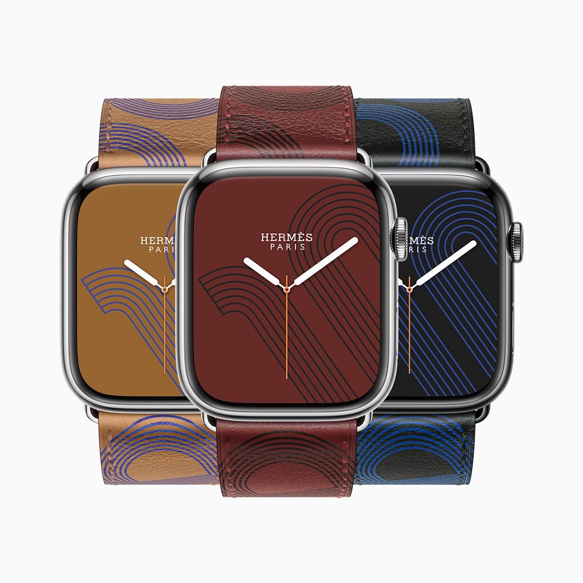 Apple Watch Hermès представляет Circuit H, смелое графическое изображение фирменного дизайна якорной цепи, напечатанное на коже Swift с дополнительным циферблатом.
