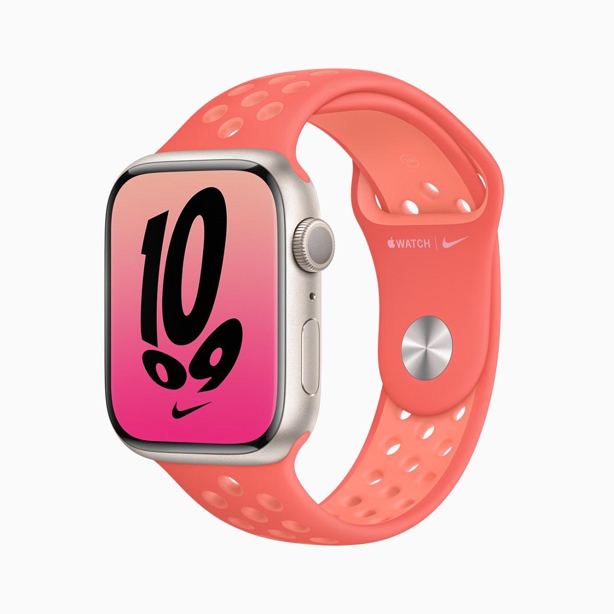 Спортивные ремешки Nike для Apple Watch осенью доступны в новых цветах, в том числе в цветах Magic Ember / Crimson Bliss.