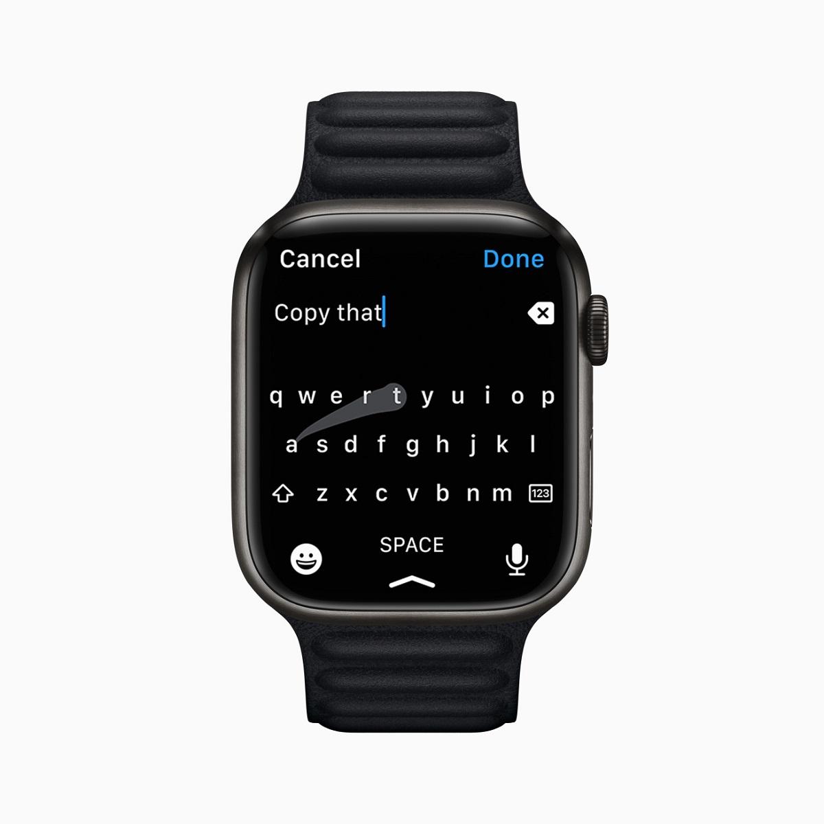 Apple Watch Series 7 предлагает новую клавиатуру QWERTY, которую можно нажимать или проводить с помощью QuickPath, что позволяет пользователям печатать пальцем.
